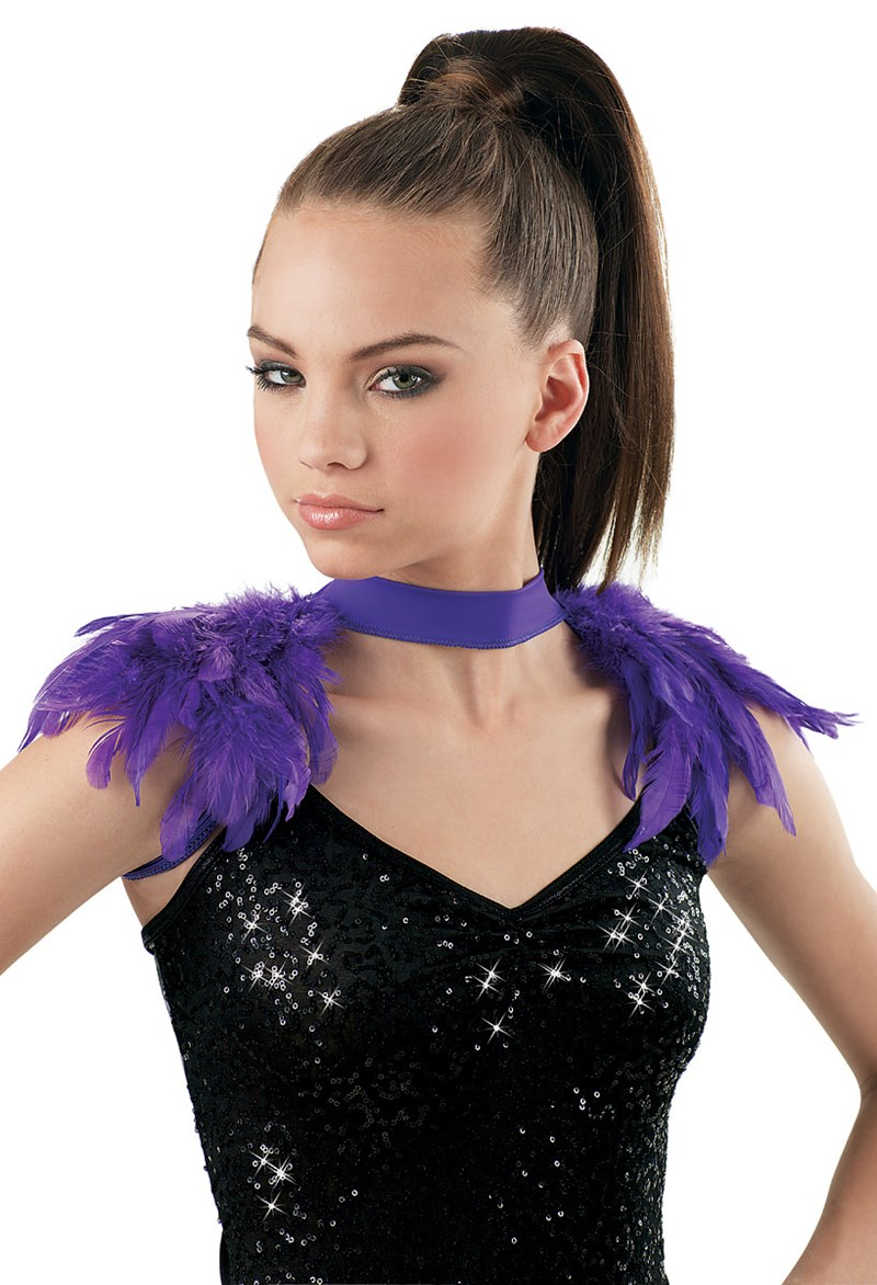 Balera Feather Epaulette Shrug - Grape - MCLC - 99-8381