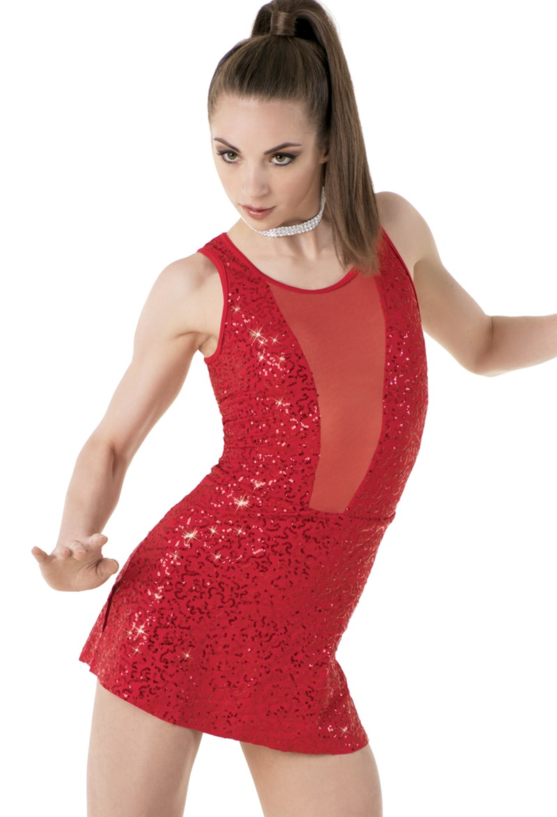 Sequin Dress with Mesh Inset