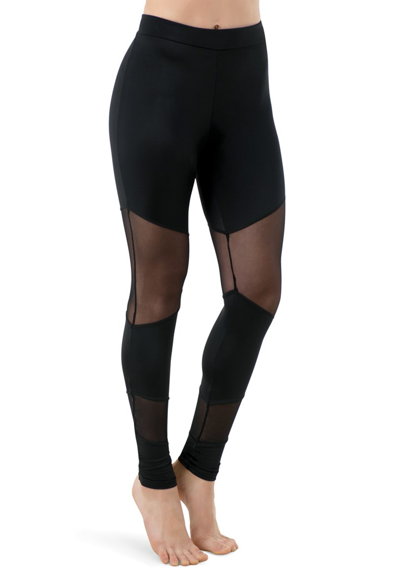 Mid Rise Leggings With Mesh
