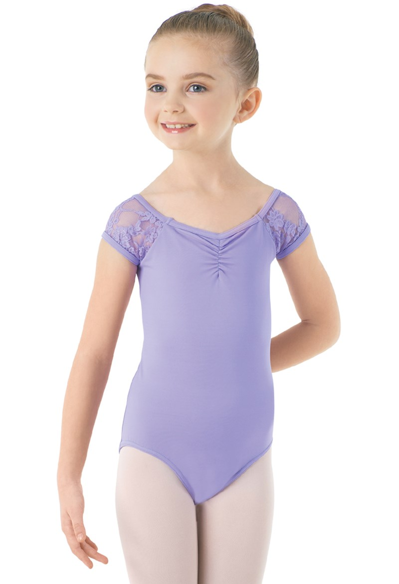 Girls Lace Cap Sleeve Leotard