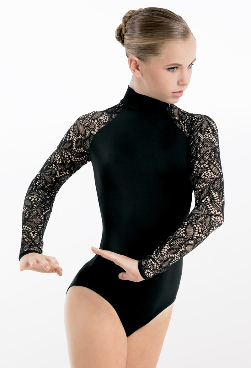 Leotard With Lace Long Sleeves