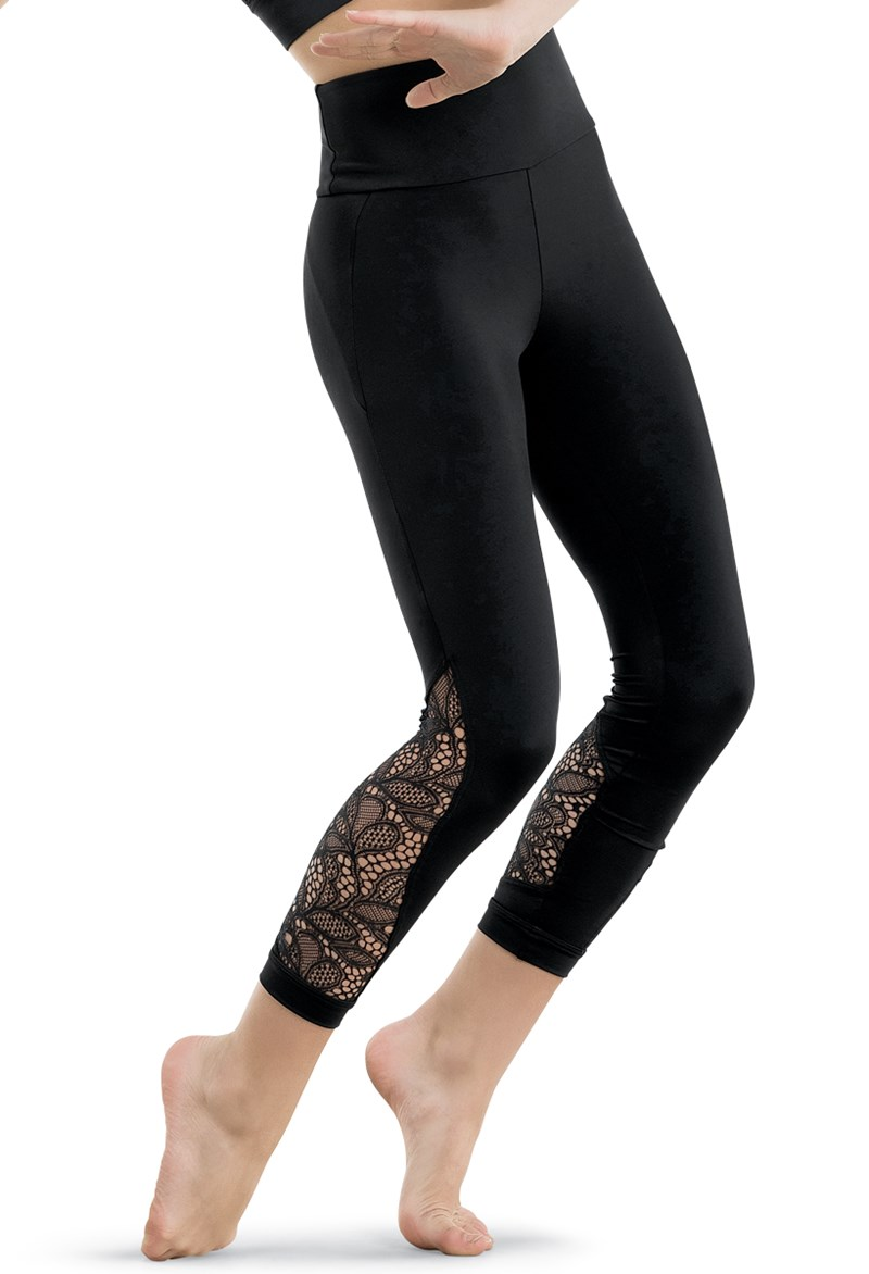 Lace Inset Cropped Leggings