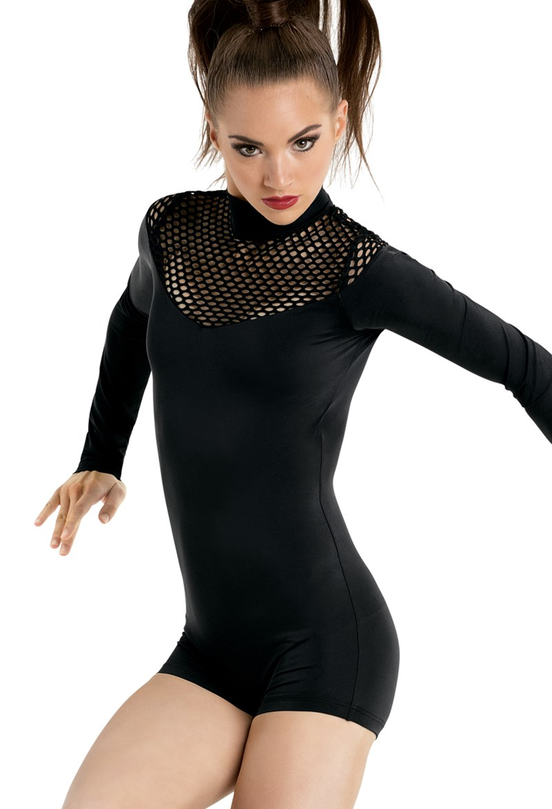 Long Sleeve Fishnet Biketard