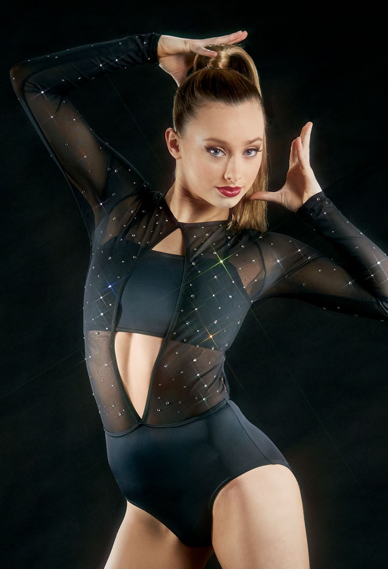 Ivy Sky Performance Crystal Mesh Bodice Leotard