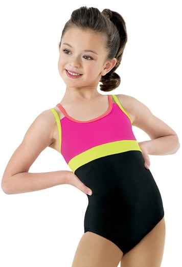 This V neck metallic spandex leotard features a neon triangle print on the front and back with contrast panels on the shoulders and sides. All sizes have a crotch liner. Matching hair scrunchie included. Imported. Fabric: Polyester/Nylon/Spandex.