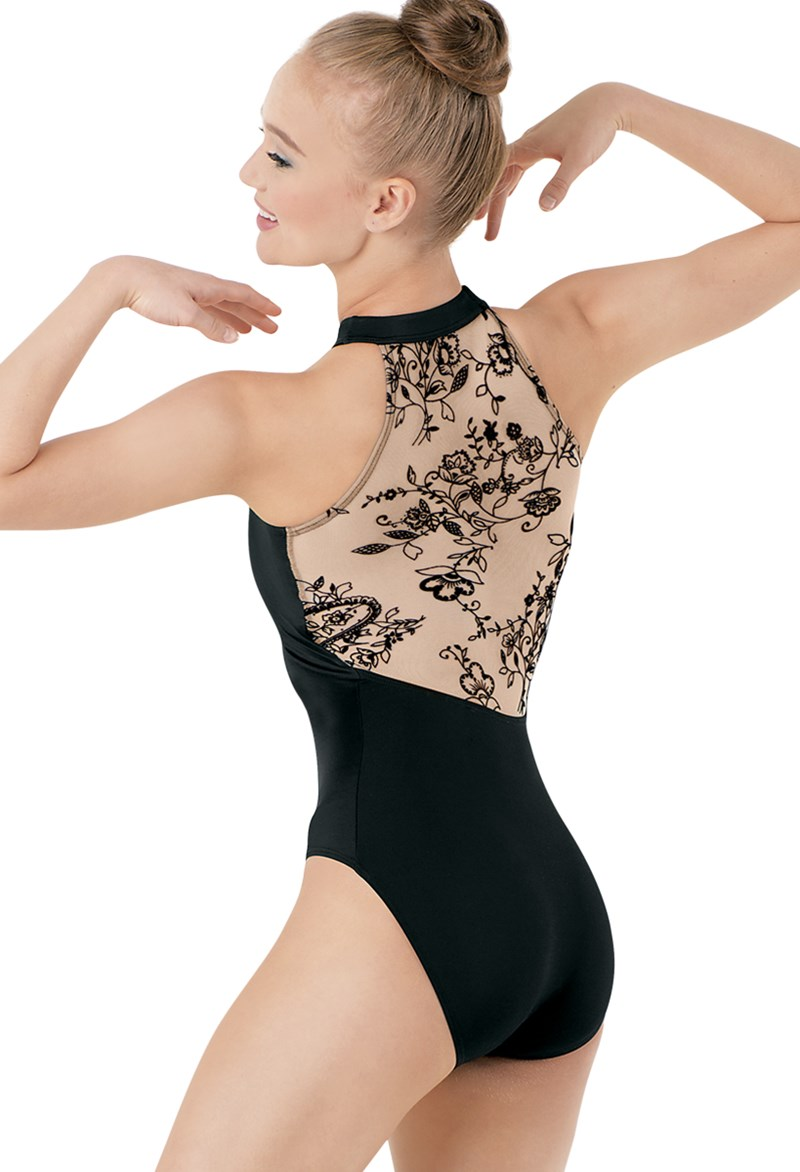 Flocked Halter Leotard