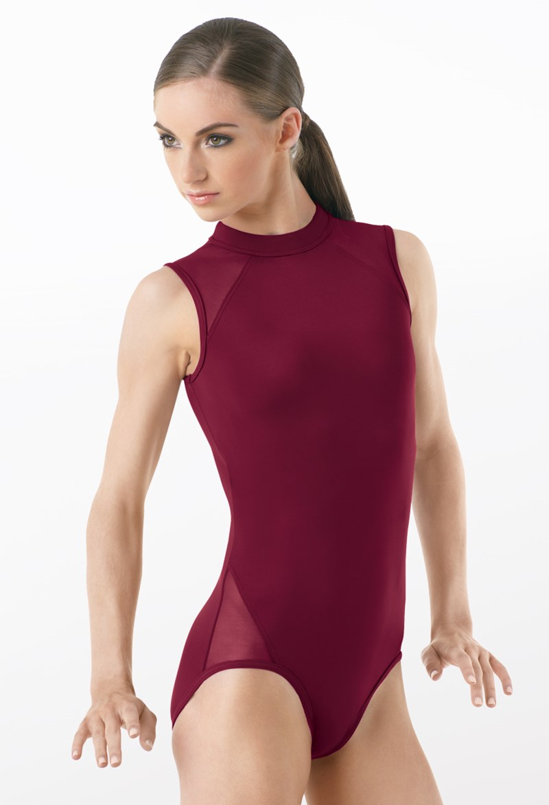 Mock Neck Mesh Inset Leotard