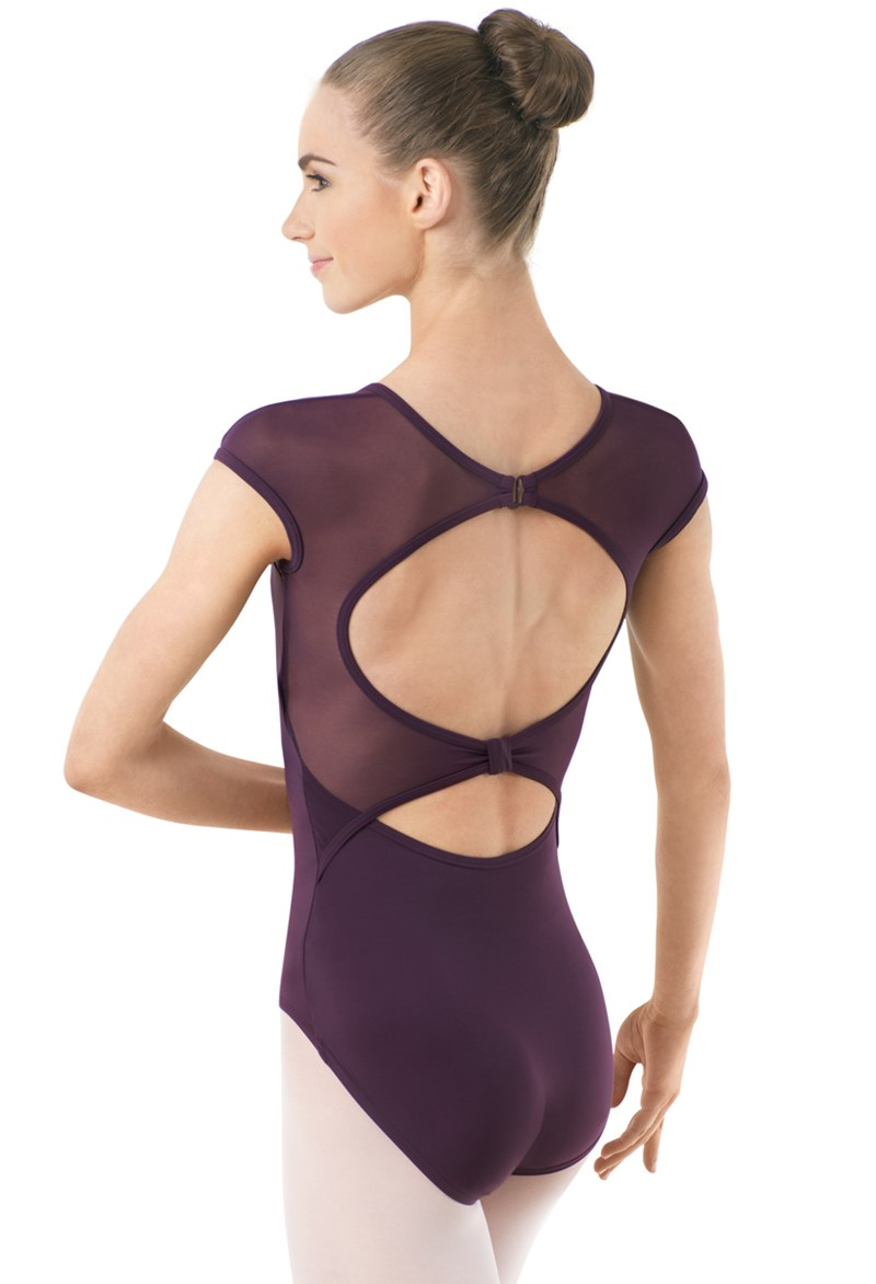 Open Back Mesh Sleeve Leotard