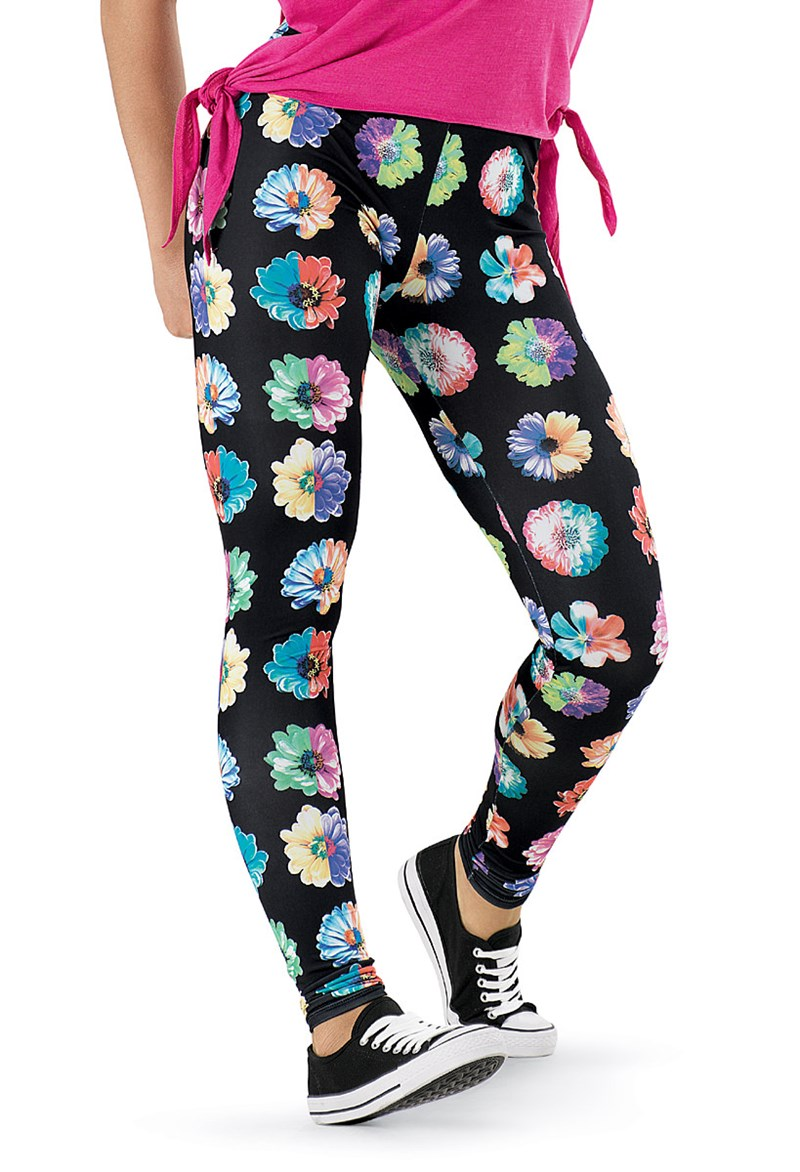 See You Monday Rainbow Daisy Print Leggings