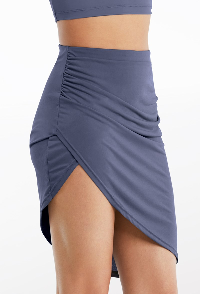 Side Ruched Matte Jersey Skirt