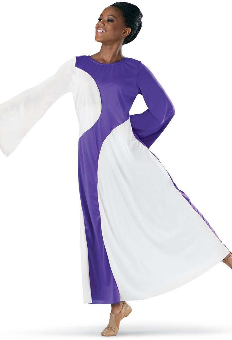 Spiritual Expressions Long Sleeve Color-Block Dress