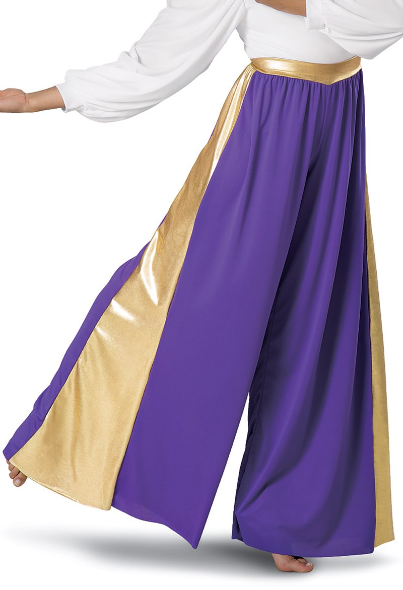 Spiritual Expressions Metallic Inset Full-Cut Pants