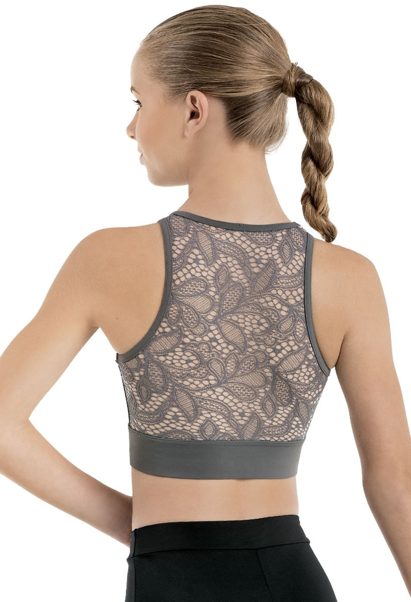 Lace Back Sleeveless Crop Top