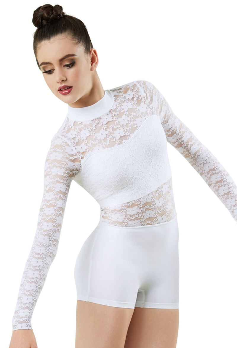 Mock Neck Lace Biketard