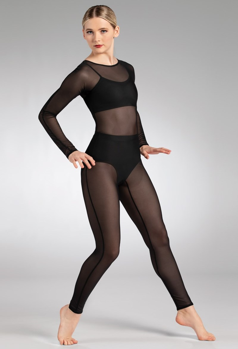 Balera Long Sleeve Power Mesh Unitard - Black - Child - SM12233