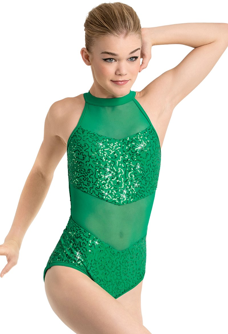 Sequin And Mesh Halter Leotard